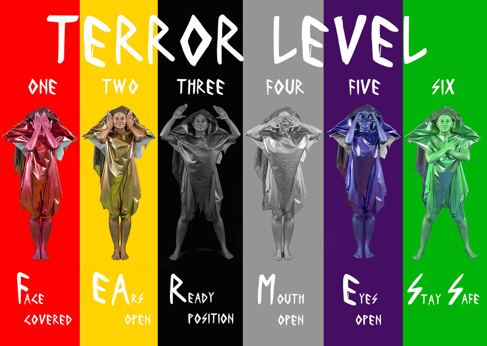 "Amy K  hoshb in ""Terror Level Alerts"", 2016, digital print, 24"" x 18"""
