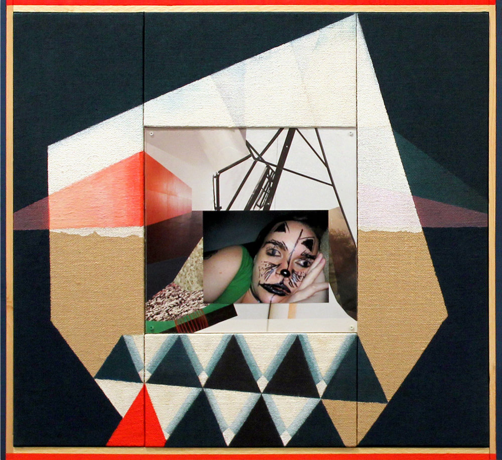 "Jen Schwarting ""Drunk Girls #19"" 2015, tempera on burlap, collage, painted wood frame, 28"" x 29"""