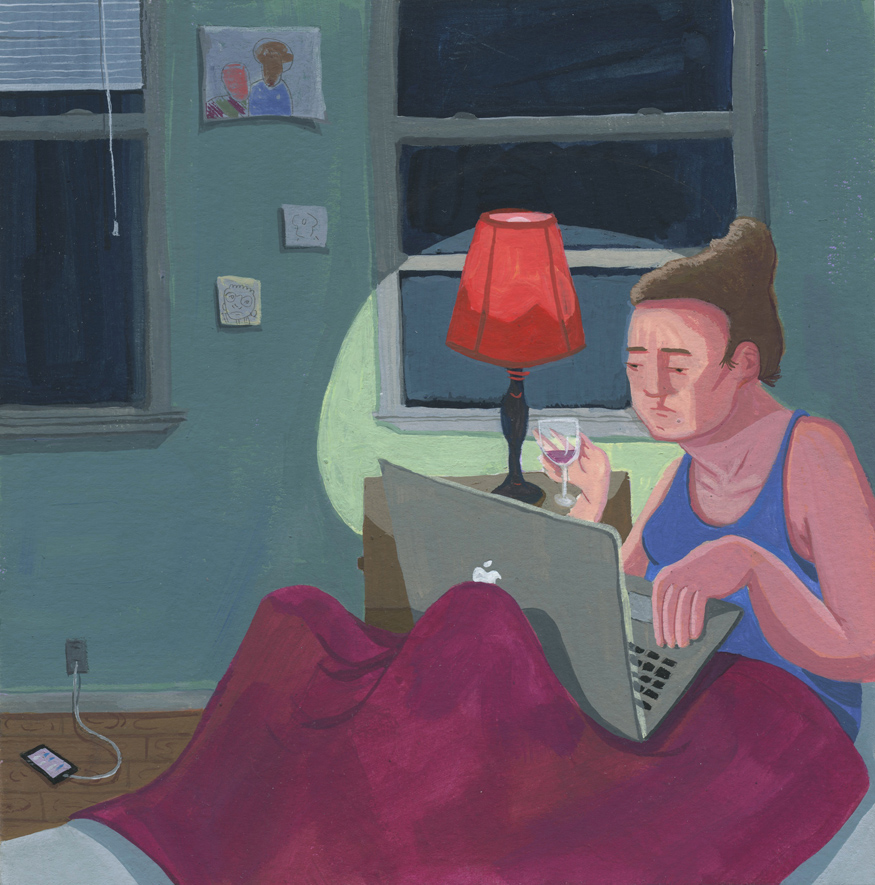 "Rebecca Ness, ""The Artist Netflix and Chills With Herself,"" 2016, gouache and graphite on paper, 6""x6"""