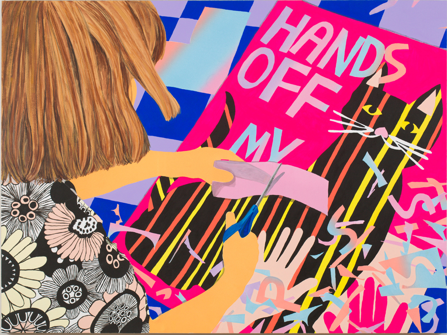 "Hands Off, colored pencil, acrylic and oil on panel, 40"" x 30"", 2017"