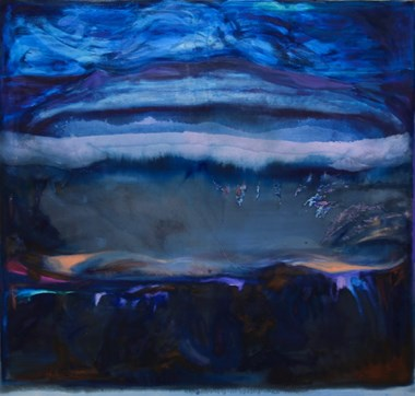 "Dana James, ""Caldera in Eternal Blue"", 2016, dye, oil, pigment on canvas, 54""x60"" http://danajames.info/"