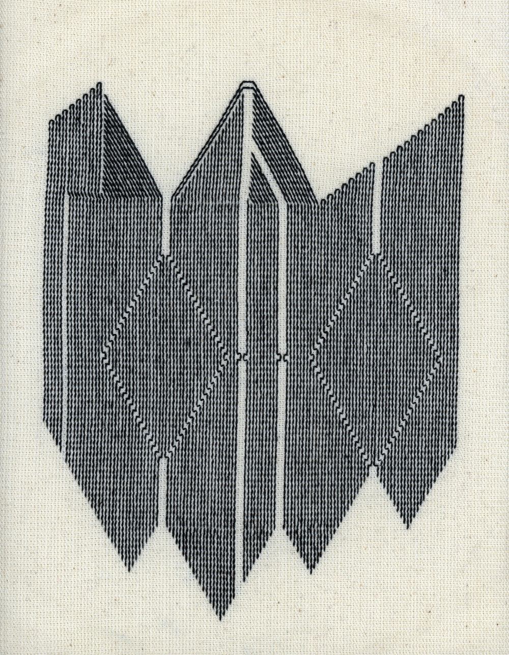 "Juna Skenderi, ""Emblem"" Embroidery on linen, 12 x 12"" http://www.junaskenderi.com"