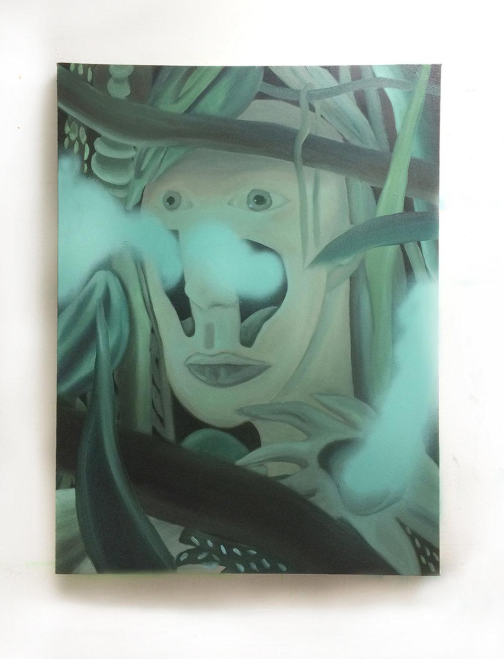 "Claire Scherzinger, ""Uncorking"" 2016, Oil and spray paint on canvas, 30 x 40"" http://www.clairescherzinger.com"