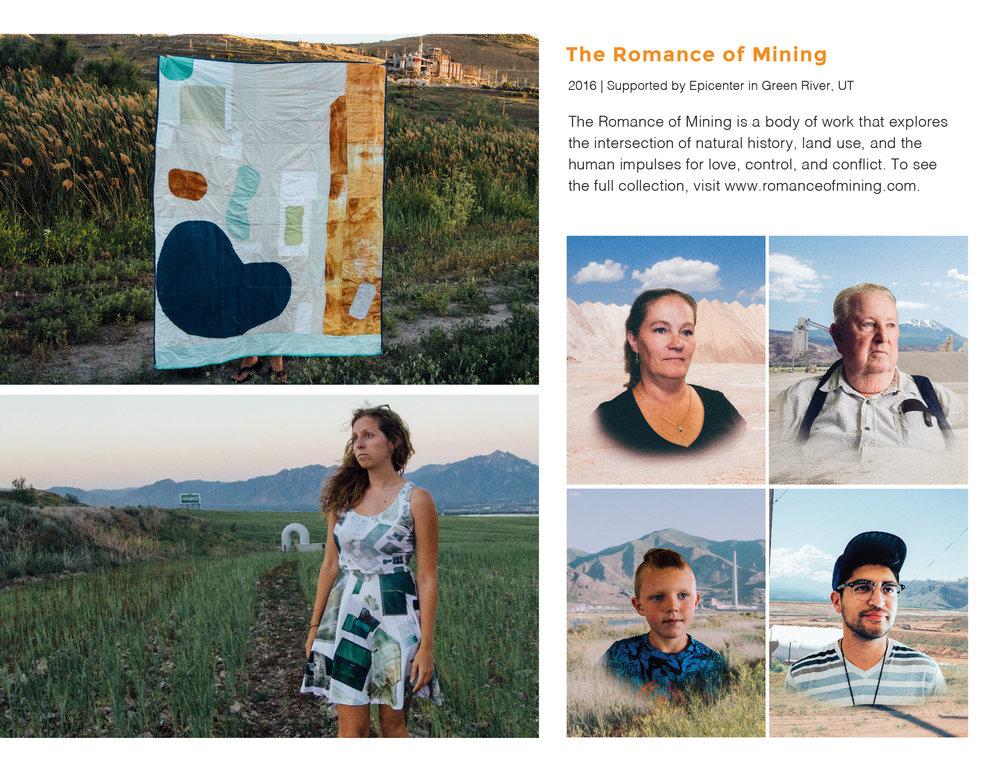 "Kirsten Southwell ""Romance of Mining"" / 2016 / Quilt (5'x7') , Dress (size M) , Portrait Series (16""x20"") http://romanceofmining.com/ http://www.kmsouthwell.com/"
