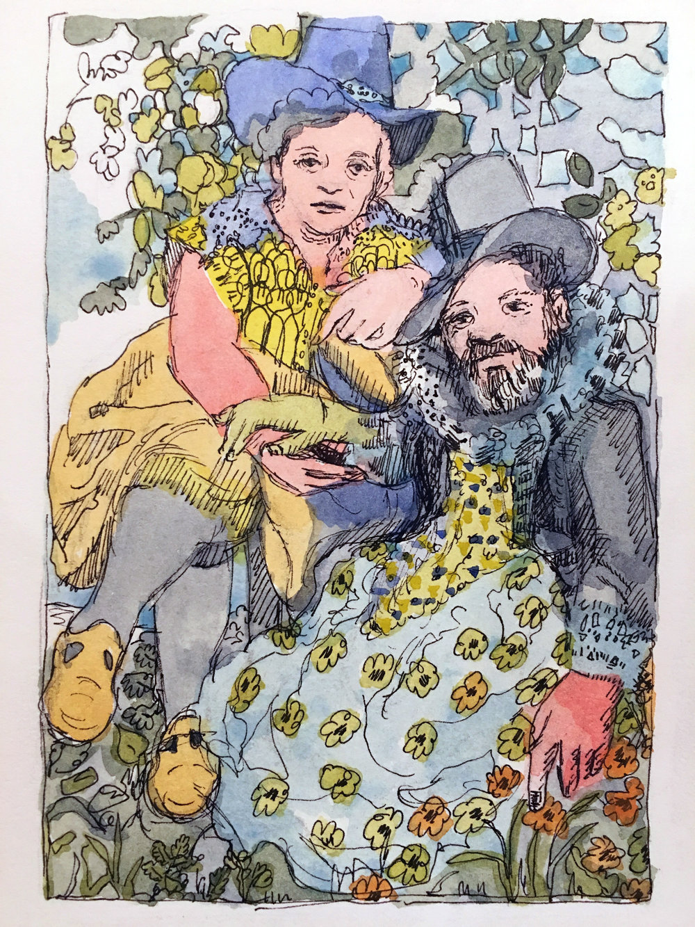 Colleen Kelsey, The Artist and her Husband (After Rubens) / 2017 / Ink and watercolor on paper / 8 x 6 inches