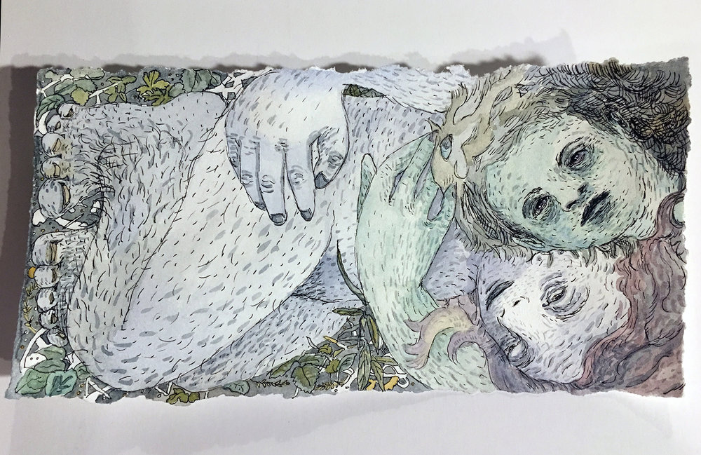 Colleen Kelsey,  The Lovers 7  / 2017 / Ink and watercolor on paper / 4 1/2 h. x 9 inches