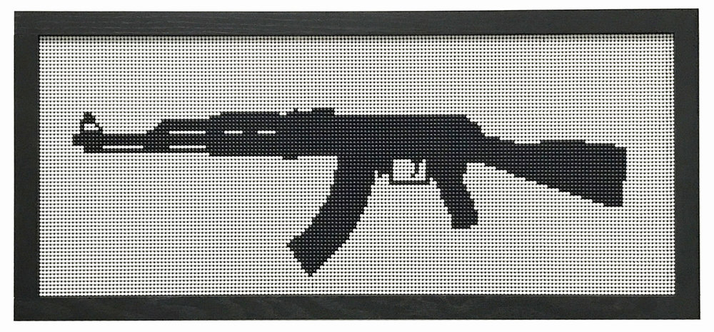 Kent Horiguchi,  AK47 , 458 × 1058 mm, Plastic BB, wood, acrylic board
