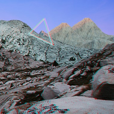 "Annie Briard, Constructions 5 - Ruby's Mirages, Anaglyph 3D glasses with inkjet print on rag paper, 2016, 28"" x 28"""
