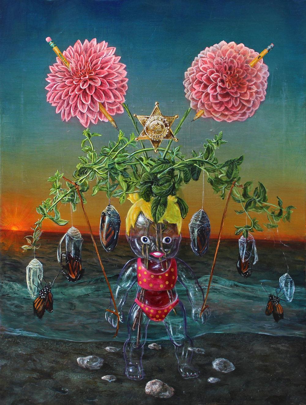 "Trey Abdella, ""Cocoon"" / 2017 / Acrylic on Canvas / 18""x24""   http://www.treyabdella.com/"