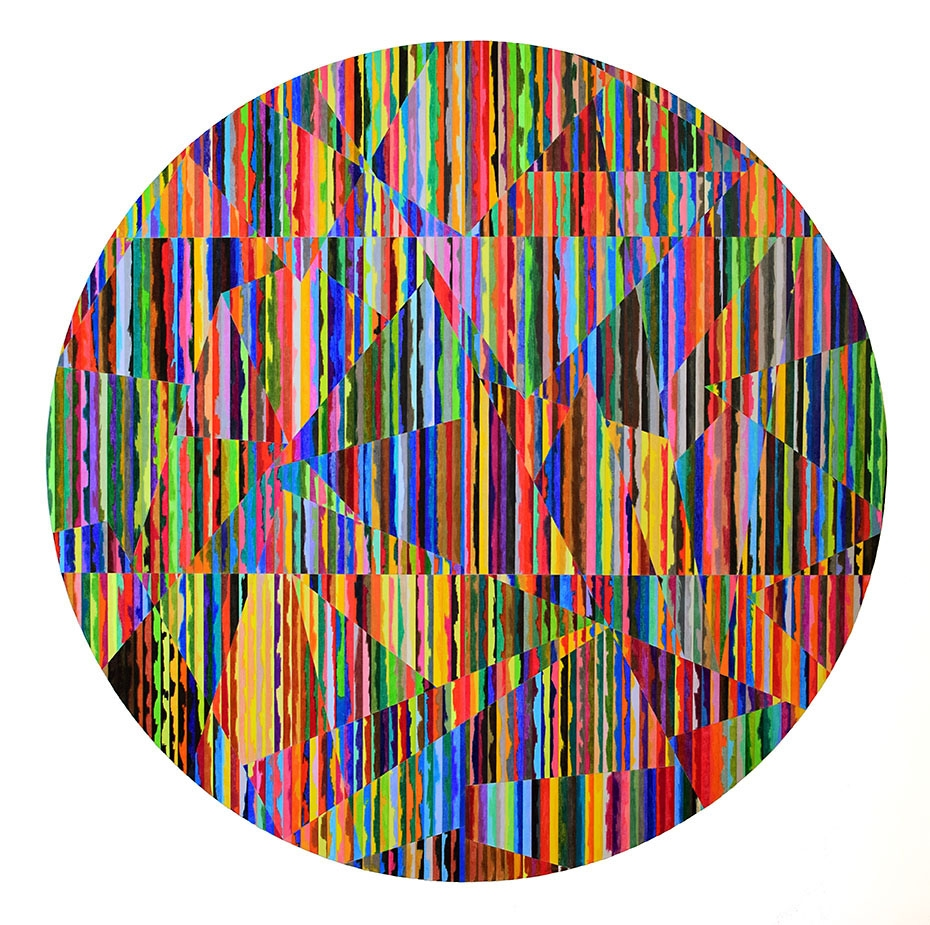 "Jessica Slaven    Eeceit , 2014  Colored pencil on paper  48"" diameter  $4800"