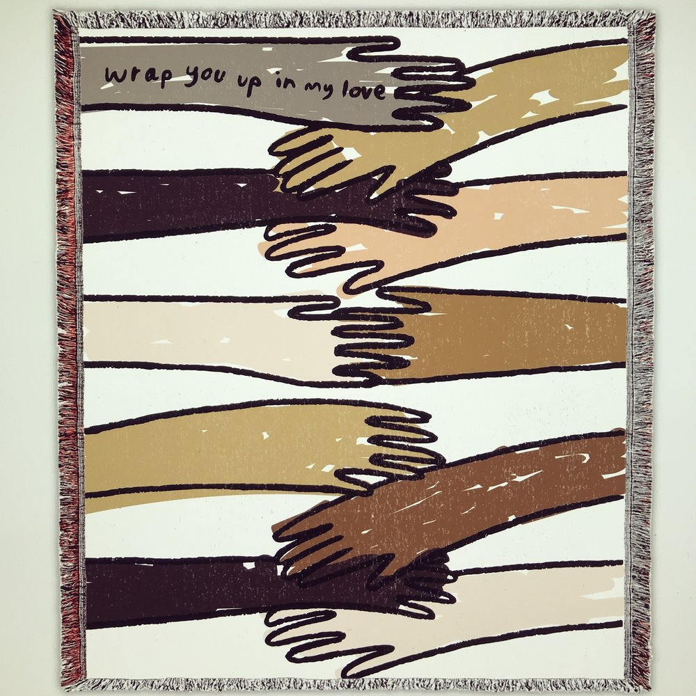 "Carissa Potter Carlson Wrap You Up Blanket, 2018 Cotton, 60"" x 40"" $300 (edition of 5)"