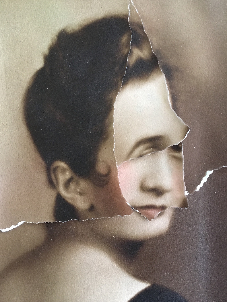 "Shari Wilkins ""Owed to Hannah Hoch"" 2015, Torn Found Photo, 8x10"""