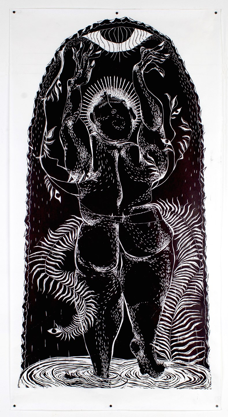 "Aparna Sarkar ""Joy and the Moon"" / 2017 / Woodcut with black ink on Masa paper / 52x28"""
