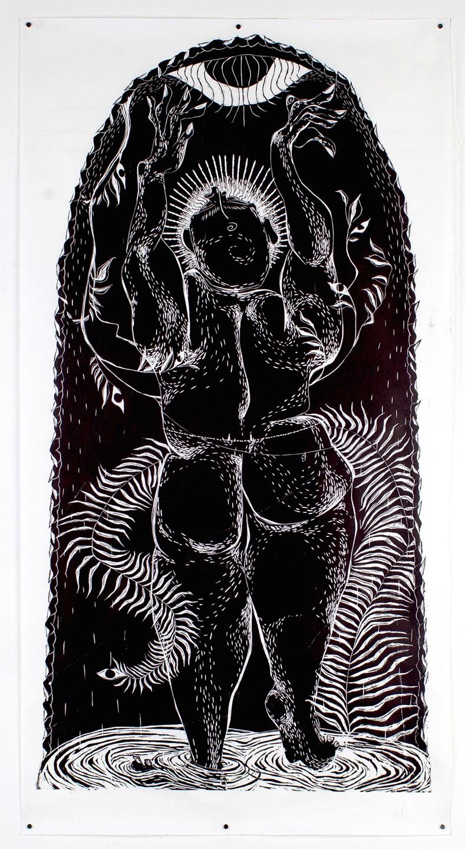 "Aparna Sarkar ""Joy and the Moon"" / 2017 / Woodcut with black ink on Masa paper / 52x28"""