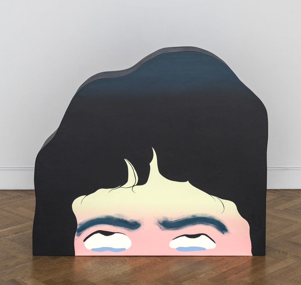 "Alyssa Piro ""Exit Strategies"" / 2014/ acrylic paint, wood/ approx. 4' x 4' x 9"""