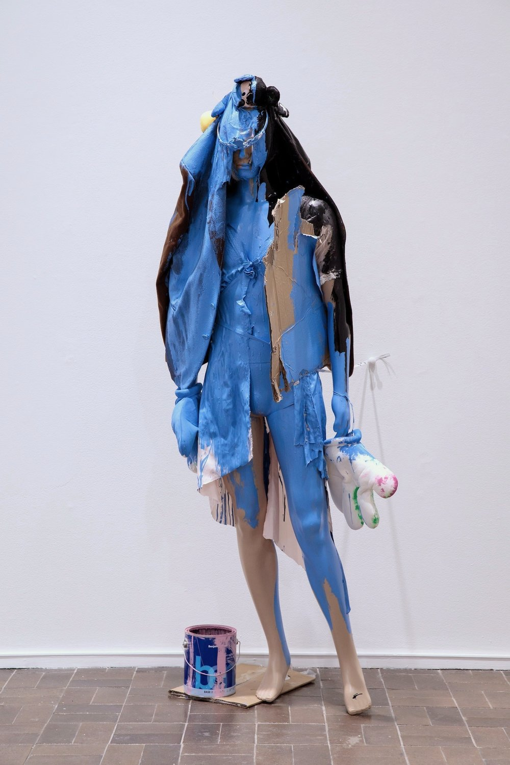 "Katya Grokhovsky ""Everything is Blue"", 2018, mannequin, acrylic, toys, cardboard, found objects, 75 x 30"""