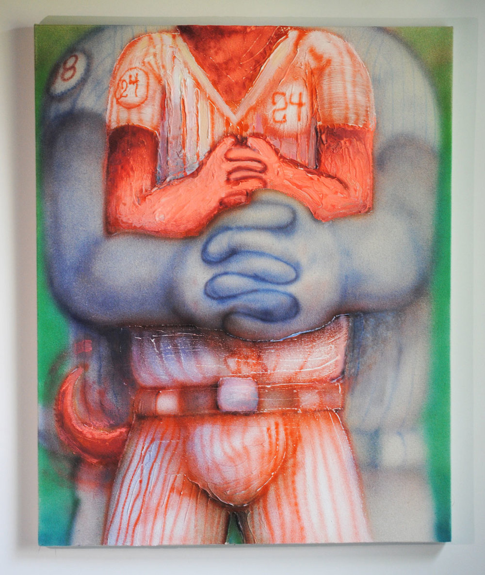 "Mark Zubrovich ""Post-Game Bear Hugs"" / 2018 / acrylic on raw canvas / 24 x 30"""