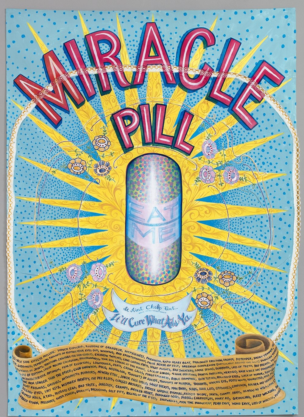 "Amy Johnquest ""Miracle Pill"" 2015, casein and acrylic, vintage tablecloth, sign cloth, 35 x 49"""