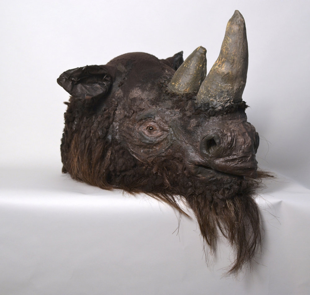 "Coelodonta antiquitatis Pleistocene Era Woolly Rhinoceros,   Fabric, thread, wool, horsehair, and other materials, 25""x33""x28"", 2015"