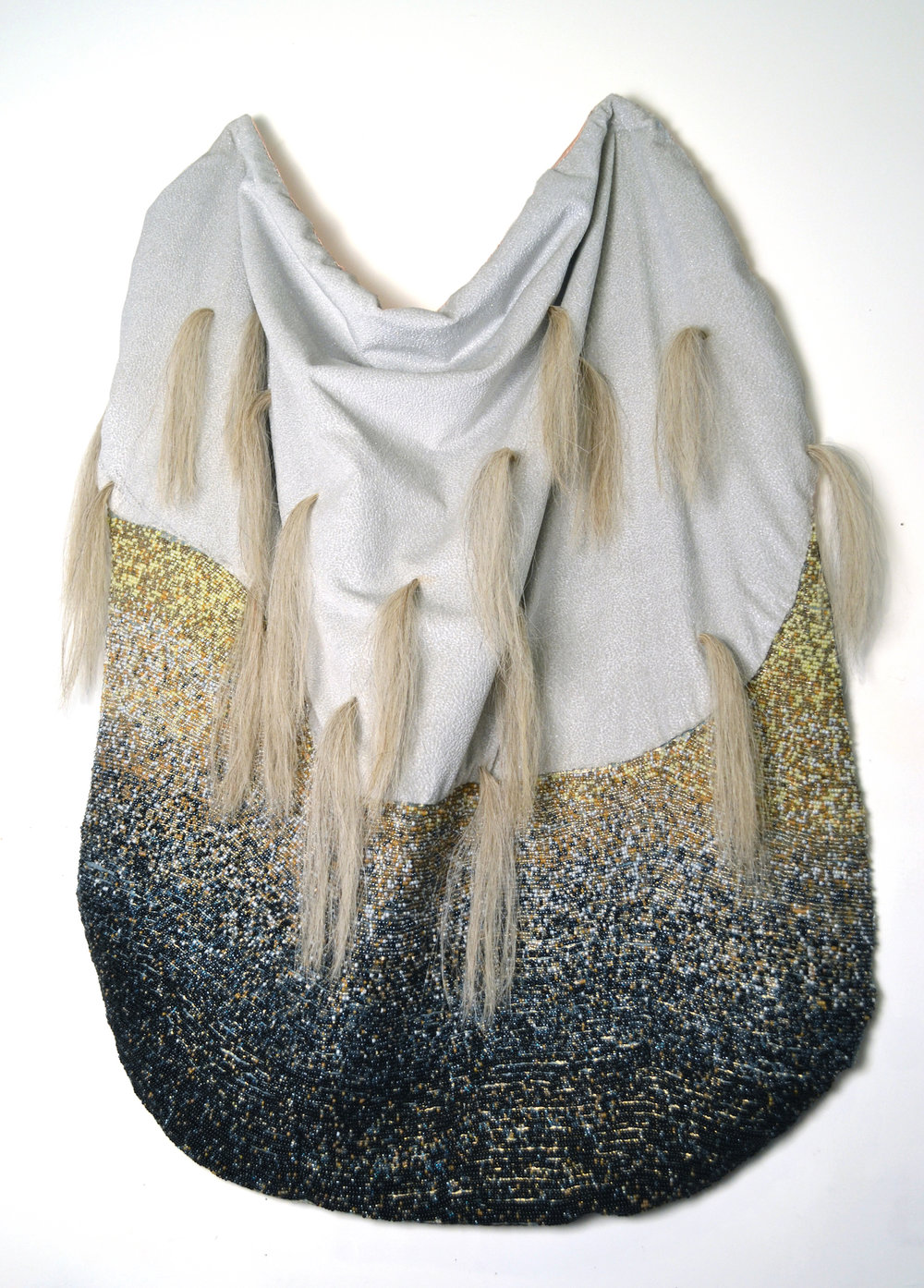 "Protective Cape,   cloth, thread, glass beads and horse hair, 48.5""x34""x6"", 2014"