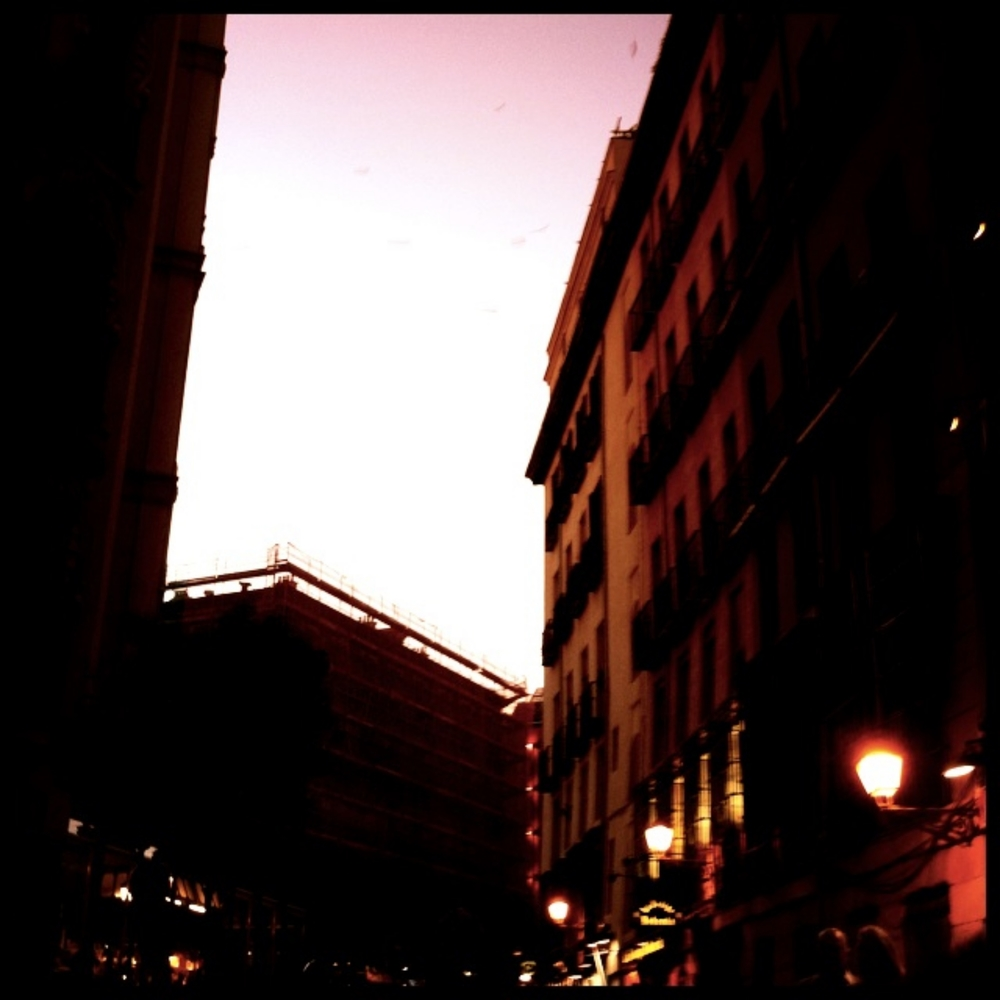 Madrid at dusk.