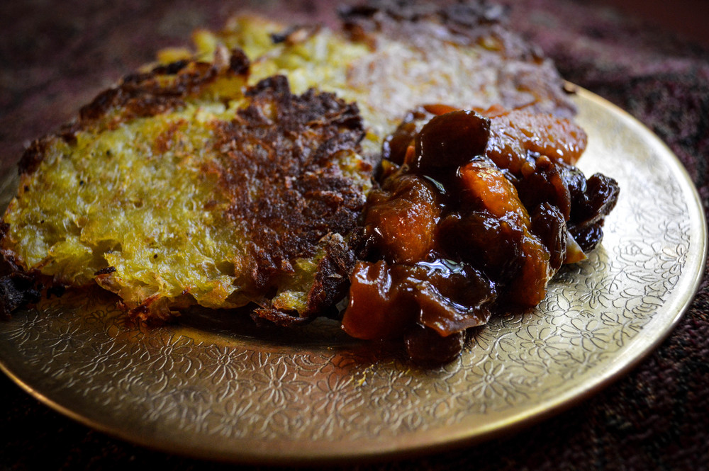 Potato Latkes with Apricot Chutney