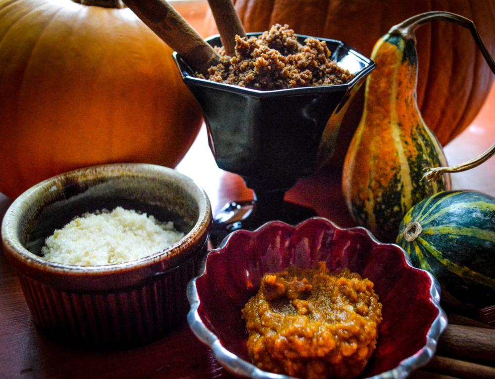 Heat Things Up Bath Salts, Harvest Spice Body Scrub, Pumpkin Peau de Soie Enzyme Masque.