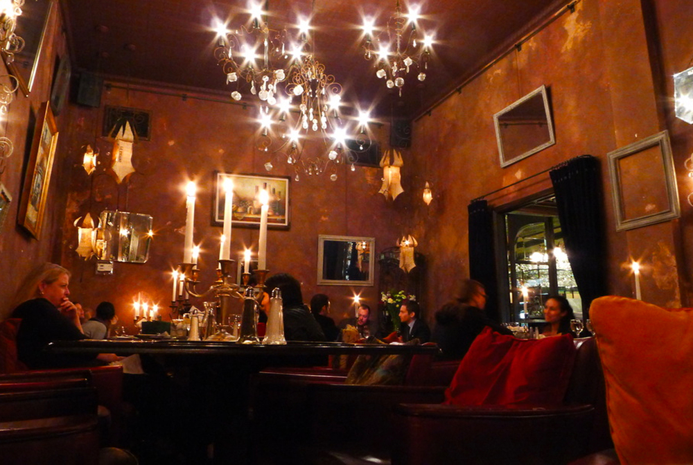 My favorite haunts: Figaro BISTROT, Los angeles, and  CAFÉ REGGIO, NYC (below)