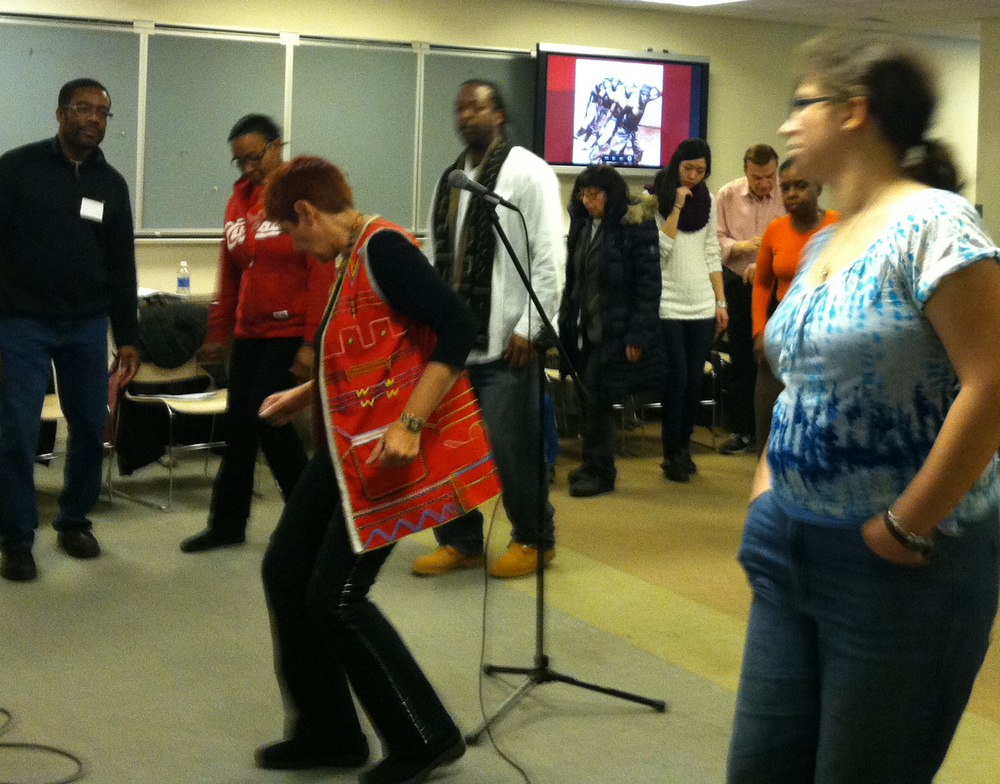 "Sharon Katz leading the ""Music and Dances of South Africa"" workshop on March 1, 2014"