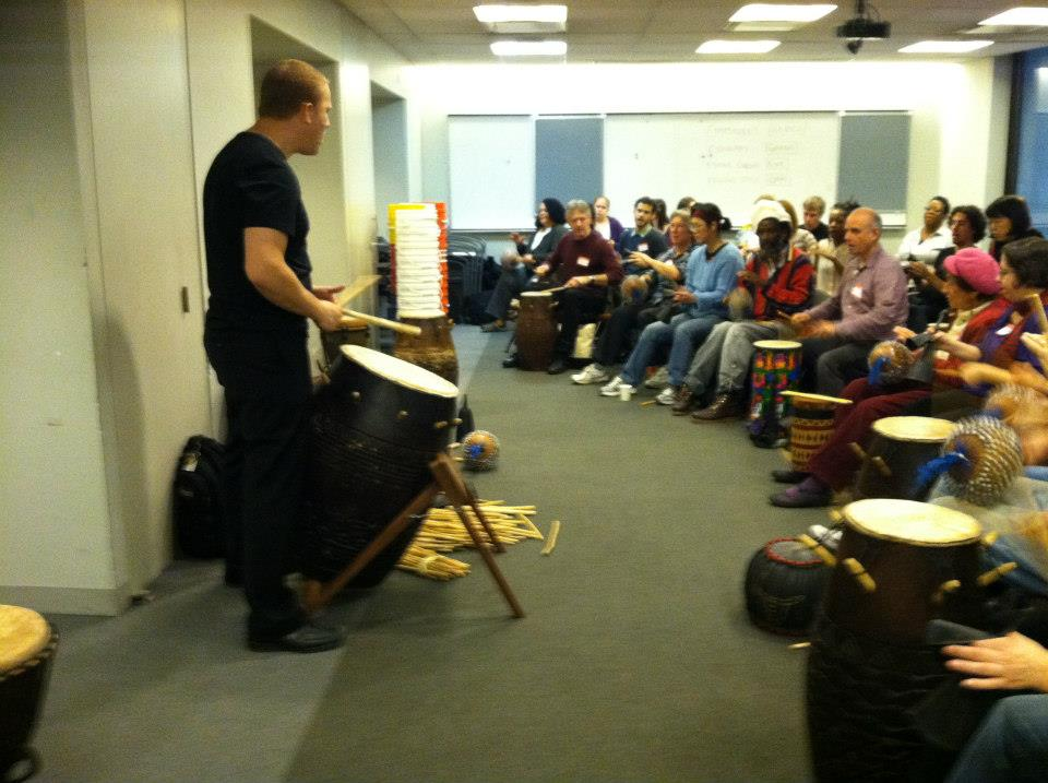 "Jeremy Cohen showing MEANYC teachers how to bring the joy and power of African drumming into their classrooms during our ""African Drumming"" workshop, Saturday, November 17, 2012"