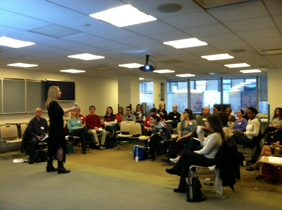 "Dr. Heather Buchanan addressing NYC music teachers about physical alignment for conductors and singers at the ""Choral Conducting"" workshop on November 16, 2013 at UFT Headquarters."