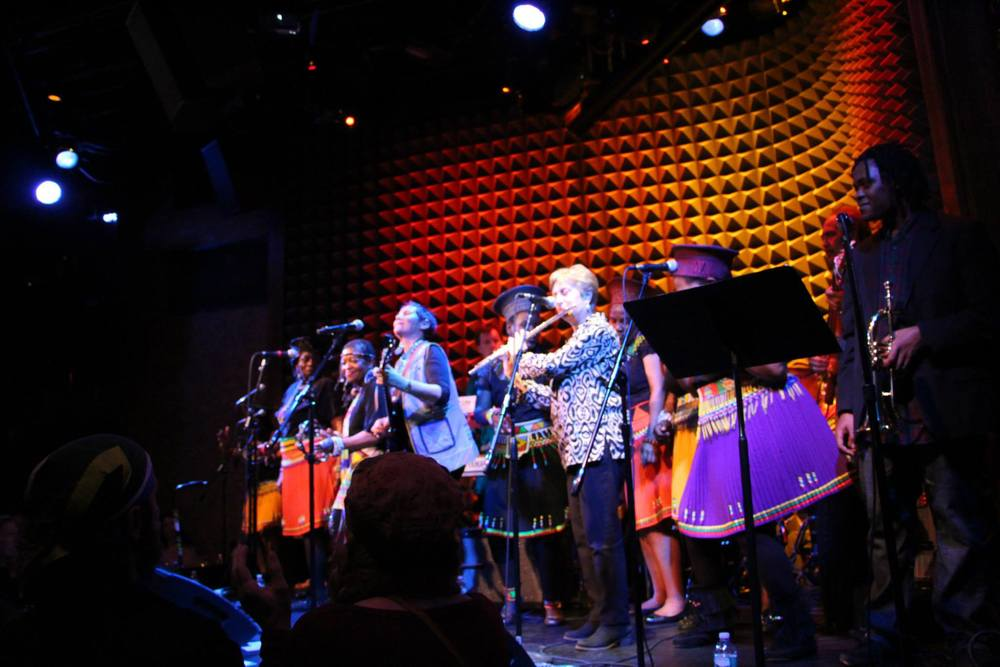 MEANYC Hospitality Chair Barbara Novick performs with Sharon Katz, the presenter of our Music and Dances of South Africa workshop, at Joe's Pub April 26, 2014