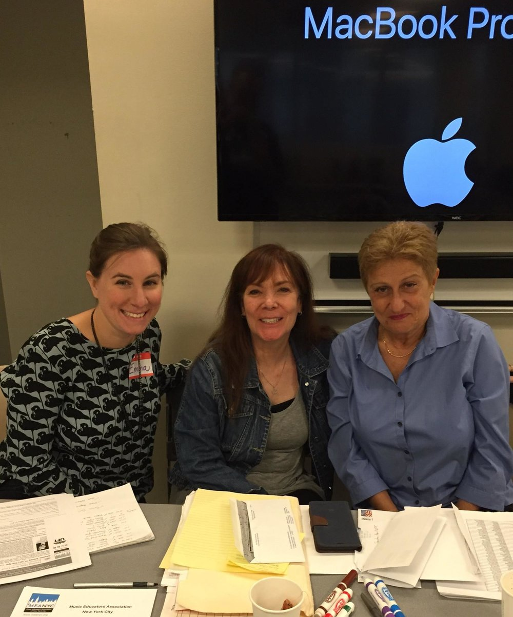 MEANYC President  Barbara Novick , Workshop and Social Media Chair  Sharon Golub  and new Workshop Co-Chair  Emma Hartmann  at MEANYC Musical Theater workshop.