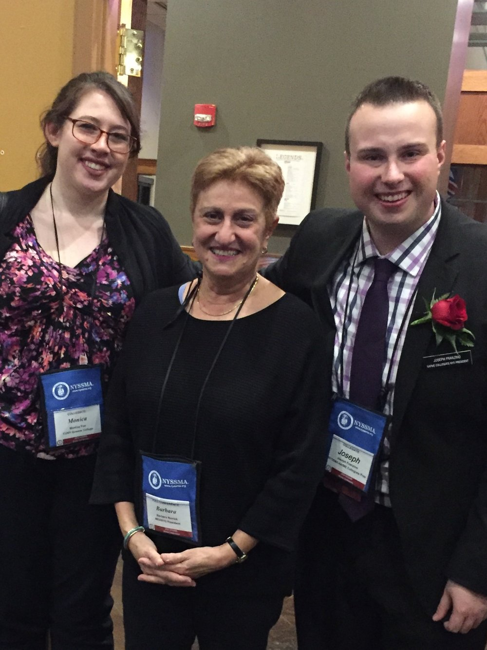 Monica Fox-NAfME/NYSSMA Province 6 Collegiate Representative, Barbara Novick-MEANYC President, and Joseph Franzino-NAfME/NYSSMA Collegiate President at Winter Conference 2016.