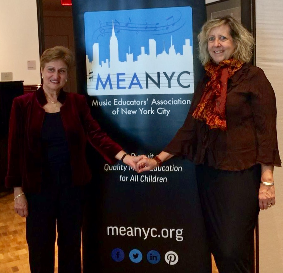 MEANYC President Barbara Novick with Dr. Joanne Loewy, Director of The Louis Armstrong Center for Music and Medicine, at our Annual Autumn Event at Steinway Hall NYC.