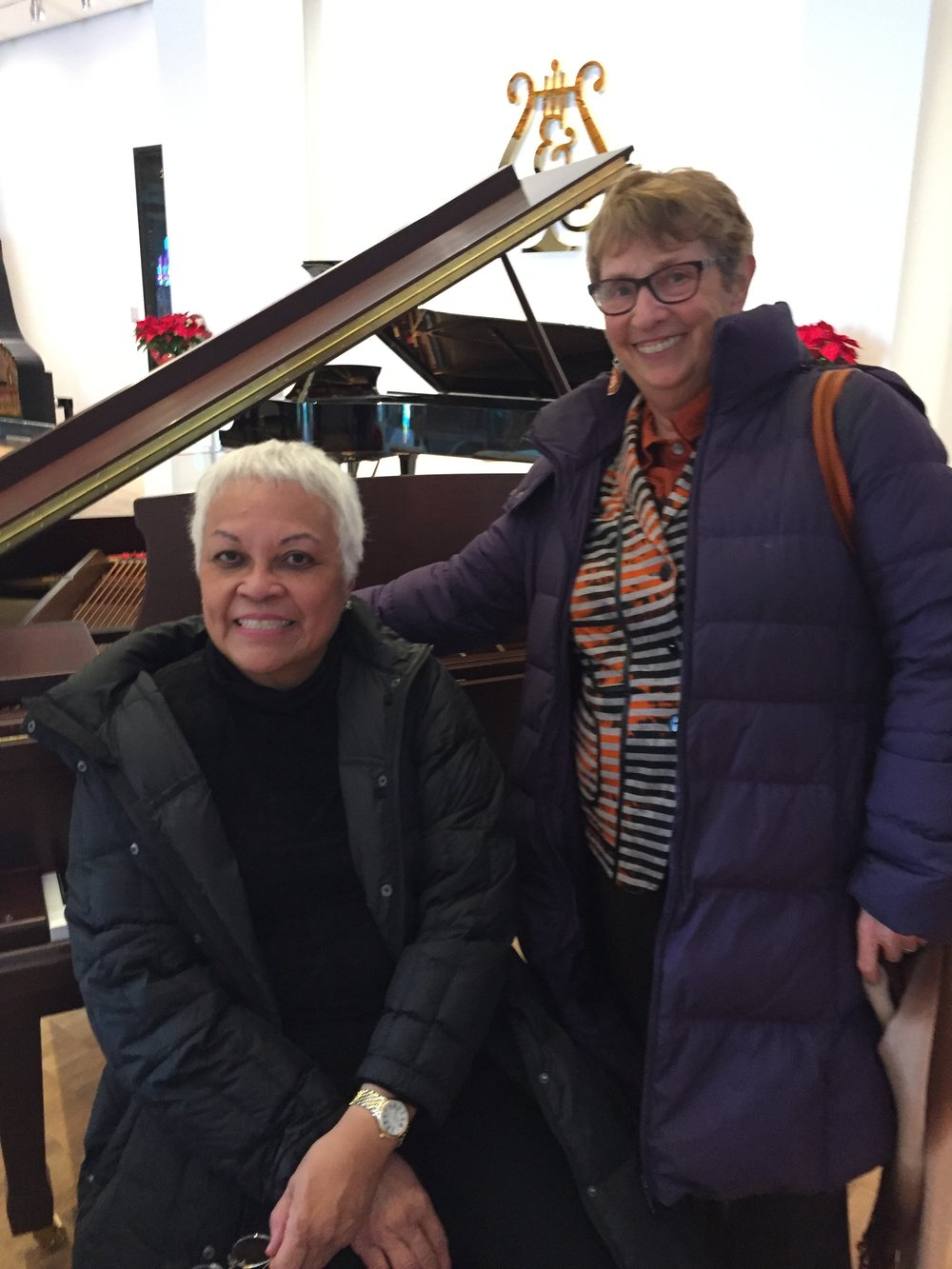 Our Elena Foronda at Steinway Hall NYC with  Martina Arroyo Foundation's Ellen Godfrey.