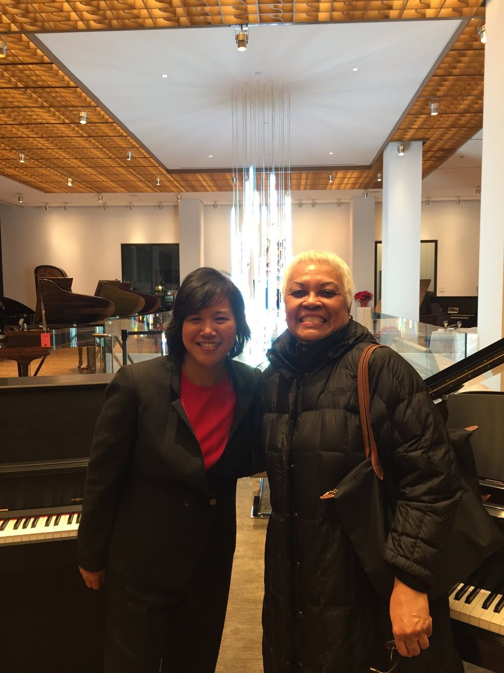 MEANYC Executive Board Secretary Elena Foronda with Karen Beluso. Annual Autumn Event at Steinway Hall, NYC- November 28th, 2016