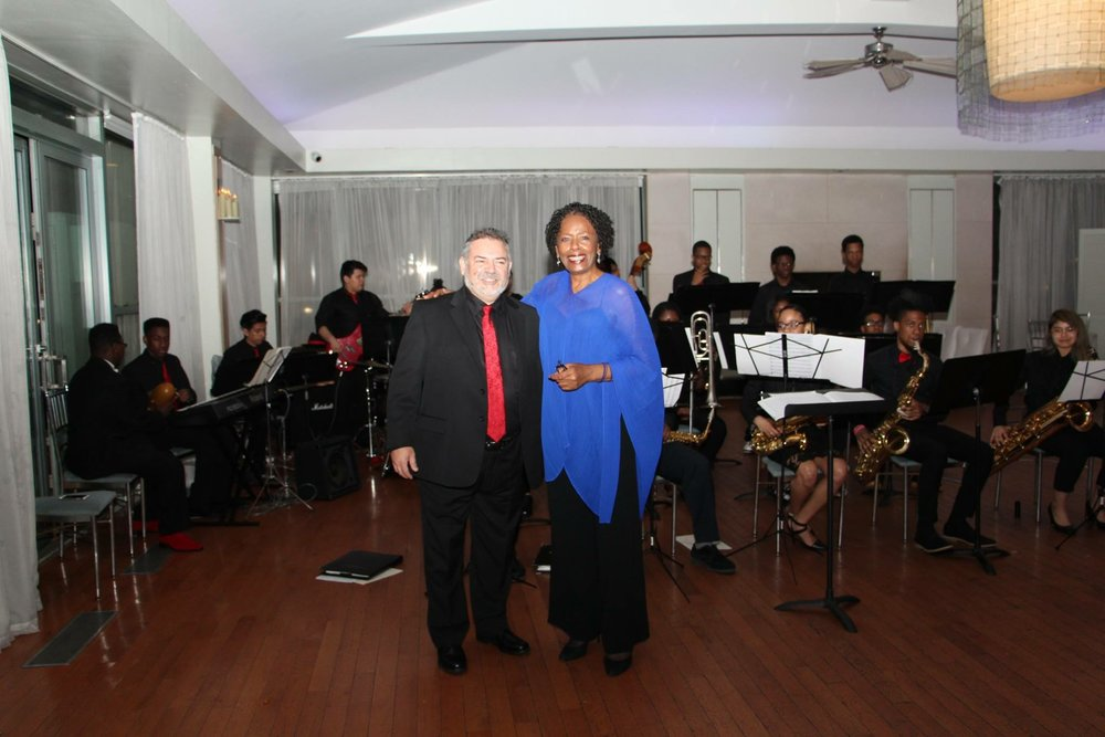 Barbara Murray with John Scandone and Bklyn HS for the Arts Jazz Band. May 1, 2017