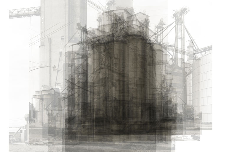 This is every U.S. grain elevator in Bernd and Hilla Becher's photography book of grain elevators that have a more vertical form than horizontal, all over-layed on top of each other.