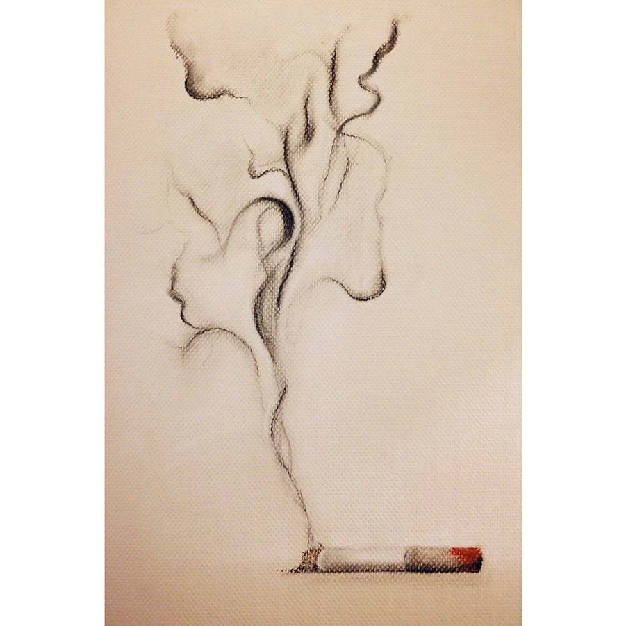 """Smoke me like a cigarette. Softly. Inhale my kiss, and let me surround you... (AKR)"" - Charcoal + Pastel, January 4, 2018."