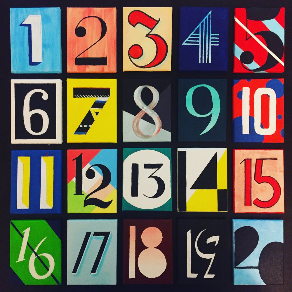 """Tables"" - Acrylic on Mini Canvases, July 23, 2016  Ryan and I got married at the Queens Museum (formerly the Queens Museum of Art), so I hand painted all of our table numbers on mini canvases and placed them on tiny easels as a nod to the former art gallery."