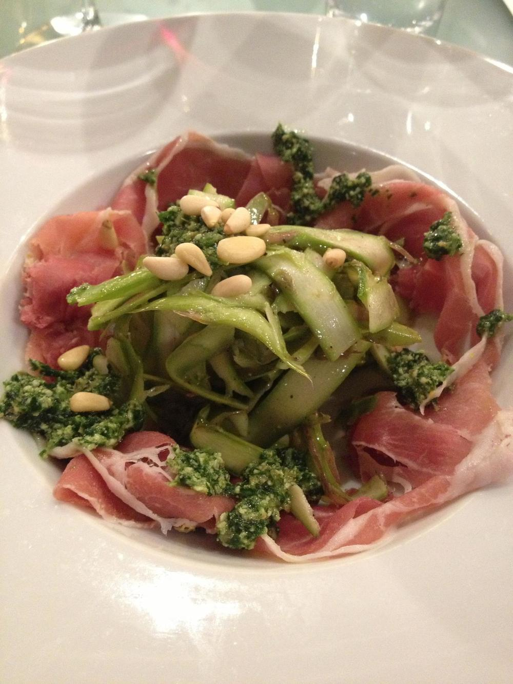 raw vegan pesto 'pasta' cold smoked prosciutto   Photo by Edible Reno