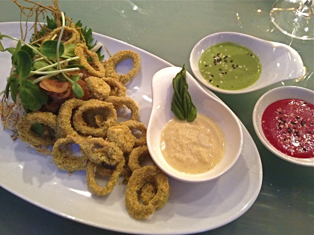 raw, vegan pistachio crusted 'calamari'