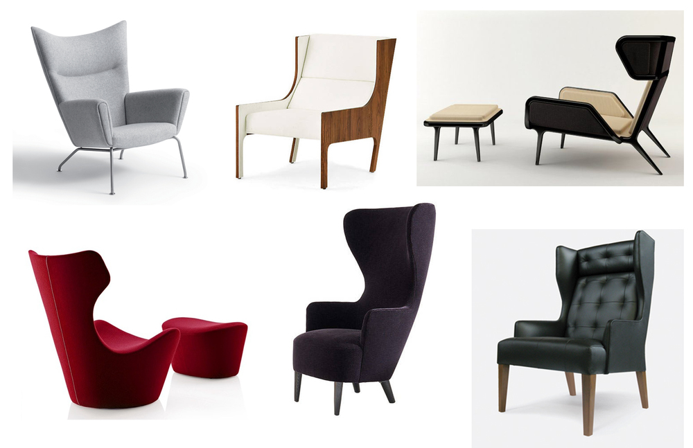 Top Row: Wing Chair by Carl Hansen & Son, Bergere Armchair by Autoban, Veronica Chair by Cate and Nelson  Bottom Row:   Grande Papilio by B&B Italia, Wingback Chair by Tom Dixon, Norton Wing Chair by James UK