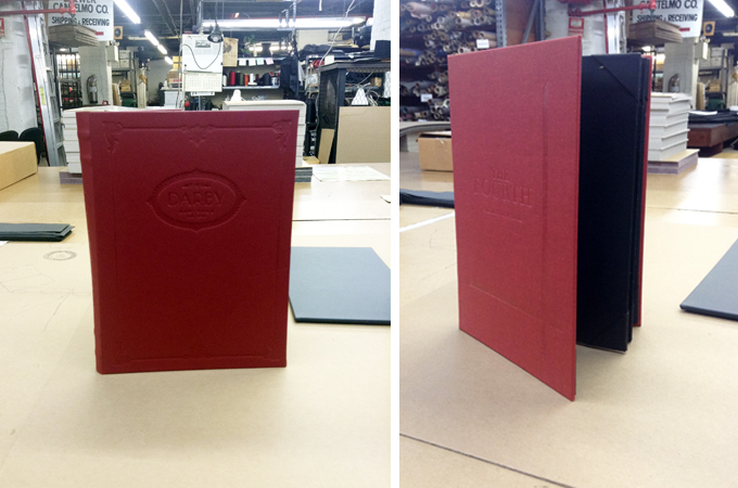 Elegantly Stamed Red Menu Cover