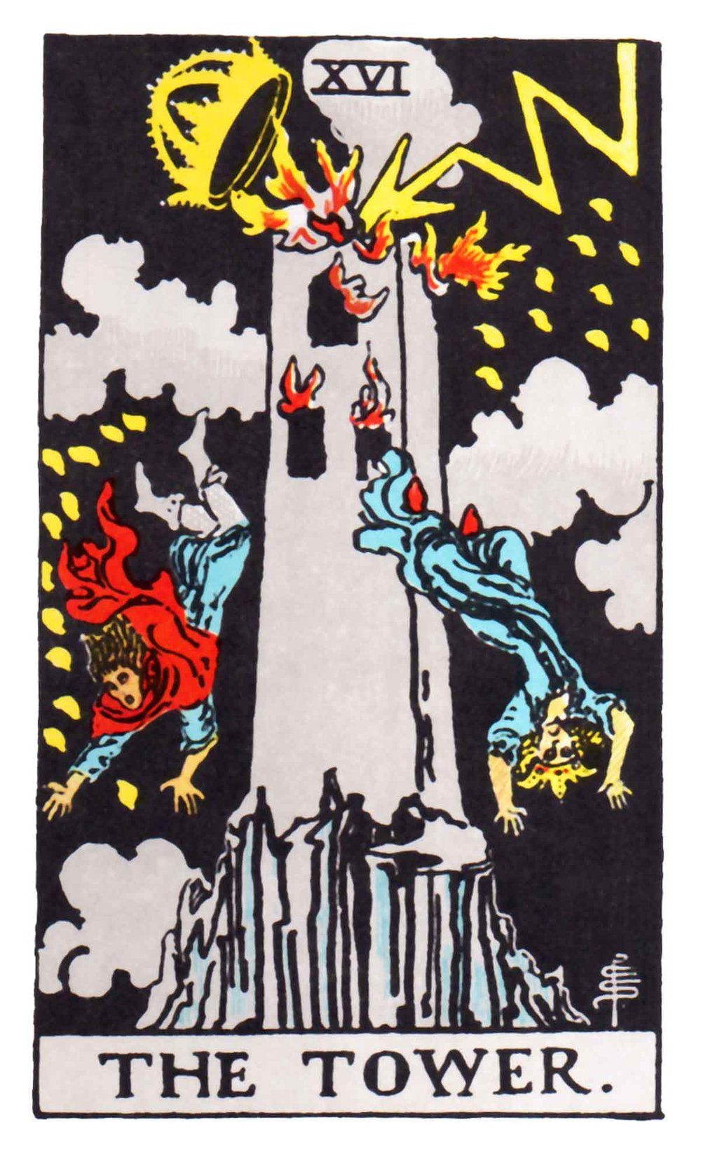 The Tower  card of the Tarot deck is commonly interpreted as meaning danger, crisis, destruction, and liberation. It is associated with sudden unforseen change.