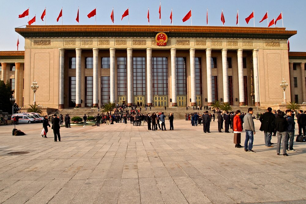 Communist Party delegates on Tiananmen Square, outside the Great Hall of The People in Beijing. (C) Remko Tanis