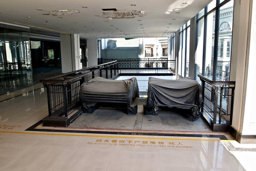 Covered up escalators at the New South China Mall in Dongguan, China. Photo: (C) Remko Tanis