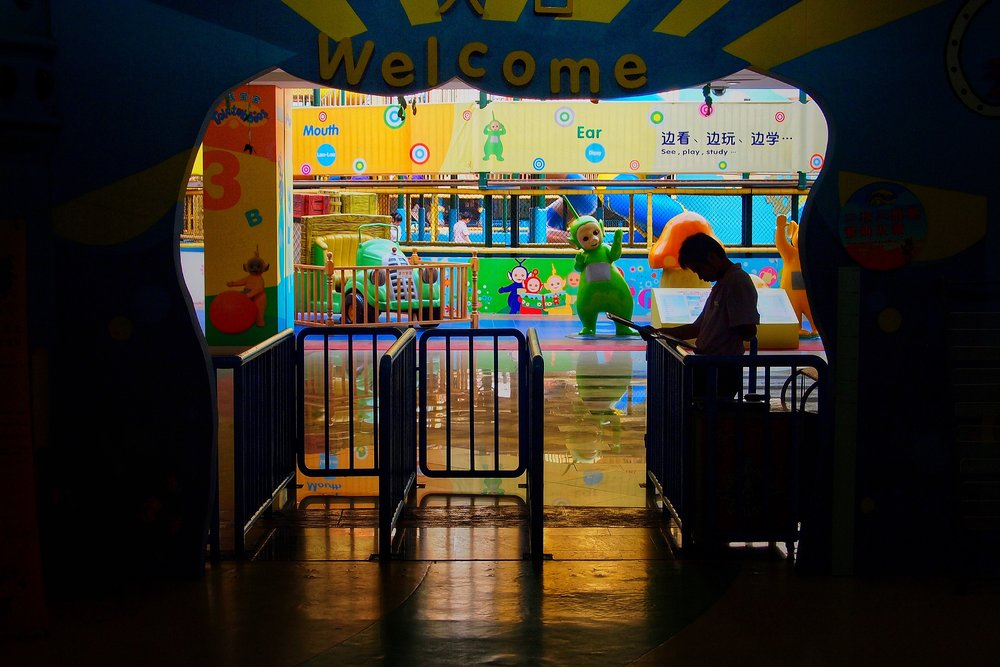 Entrance to the world's first Teletubbies amusement park in the empty New South China Mall in Dongguan, China. Photo: (C) Remko Tanis