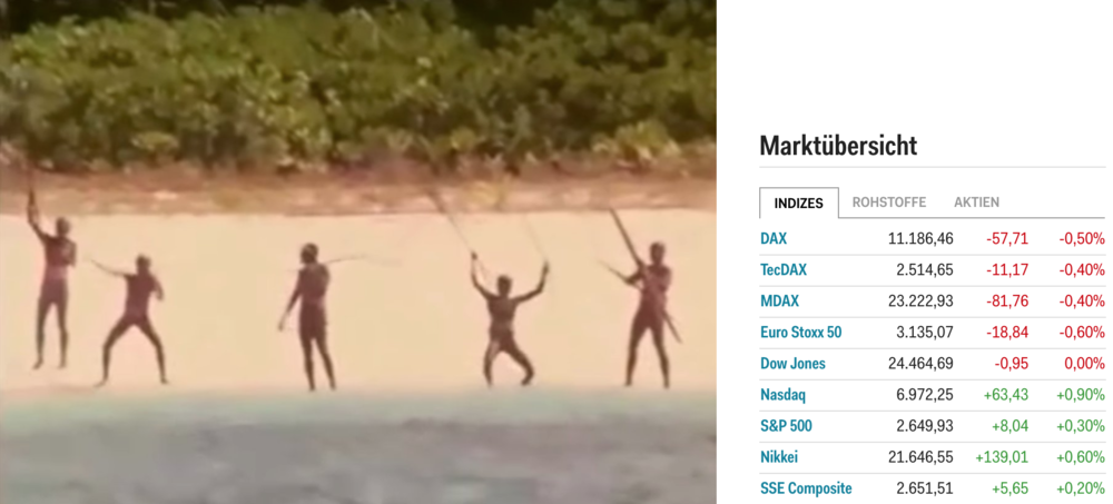 A file photo of Sentinelese people trying to fend off intruders. Business Insider put real time market indexes right next to the image. Somehow the contrast between the two couldn't be bigger. Source:  Business Insider DE